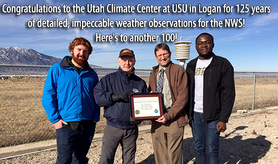 Congratulations to the Utah Climate Center at USU in Logan for 125 years of detailed, impeccable weather observations for the NWS! Here's to another 100!